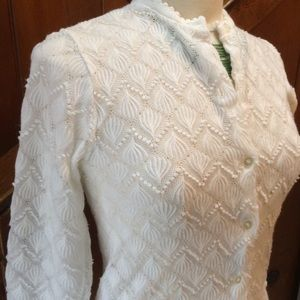 Vintage Knit Eyelet Cardigan Sweater